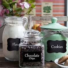 Creative Removable Blackboard Chalkboard Cup Jam Jar Glass Labels Tool