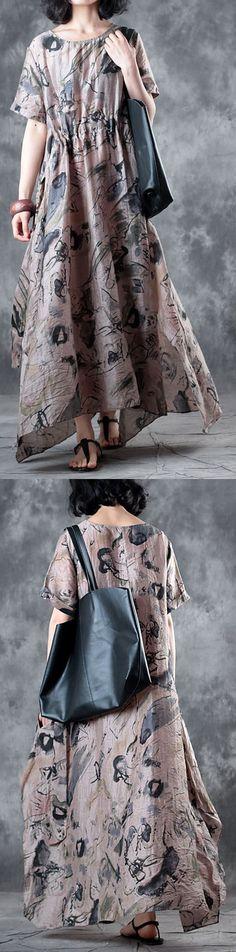 9bcce65be3 Women nude print long silk dress oversized o neck short sleeve traveling  clothing women elastic waist big hem silk caftans. Floral Plus Size ...
