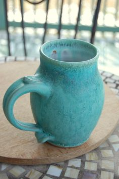 Monster Mug in Turquoise- Made to Order. $28.00, via Etsy.