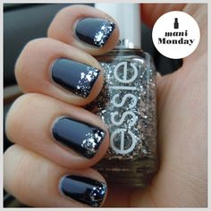 Ashley of Passion for Polish shows off her sultry side in 'midnight cami' and 'set in stones' on her tips.