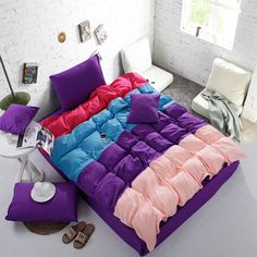 Home textile,fashion colorful roupa de cama 4pcs bedclothes king/queen/twin size bedding set cotton duvet cover set drop ship $75.99 - 85.99