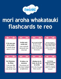 This resource covers the useful handy flashcards of Te Reo Māori phrases pertaining to aroha -love. Use them to build your vocabulary and celebrate Te Reo Māori. Maori Songs, Samoan Tribal, Filipino Tribal, Maori Symbols, New Zealand Tattoo, Cut And Paste Worksheets, Learning Stories, Maori Designs, Maori Art