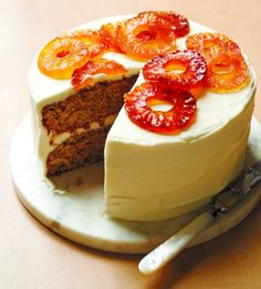 Hummingbird Cake with Candied Pineapples | Recipe: Martha Stewart