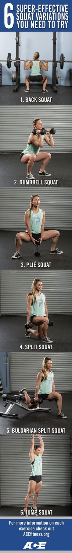 Squats work the glutes, hamstrings, quad, back and core, making it a great total-body exercise. Once you've learned the basics of good form (described here), you'll be ready to move on to these six super-effective squat variations that will do wonders for your strength, flexibility, physique and power. healthandfitnessnewswire.com