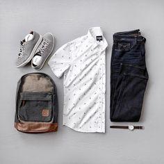 Men's Spring Fashion, Short Sleeves, Denim, Sneakers, Backpack #backpacks #denim #sneakers #mensfashion