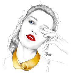 Narcisso Rodriguez Pencil Portrait, Pencil Drawings, Illustration Fashion, Narciso Rodriguez, Illustrator, Blue Prints, Black Pencil, Black N White, Woman