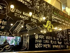 I know KFC has nothing to do with healthy snacks but this wall design with doodles can be well used to decorate a healthy snacks shop. A paintprush on a wall can look pretty cool.
