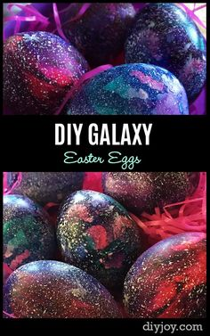 DIY Easter Egg Decorating Ideas - How to Make Galaxy Easter Eggs - Step by Step Tutorial Video http://diyjoy.com/diy-galaxy-easter-eggs