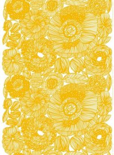 Our fabric selection for the bench cushion in the new family room. Kurjenpolvi HW cotton fabric by Marimekko. Motifs Textiles, Textile Patterns, Textile Design, Color Patterns, Print Patterns, Floral Patterns, Pattern Art, Pattern Design, Yellow Pattern