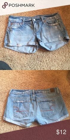 Light wash cuffed Jean shorts Light wash cuffed Jean shorts from American eagle. Only worn a couple times and in great condition! American Eagle Outfitters Shorts Jean Shorts