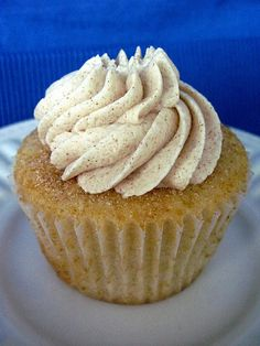 Snickerdoodle Cupcakes with Cinnamon Vanilla Buttercream Frosting.. baking obsessed