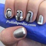 My Elephant nails!  I love these animals.      Watch The Video Tutorial @ http://www.polishpedia.com/elephant-nail-art.html