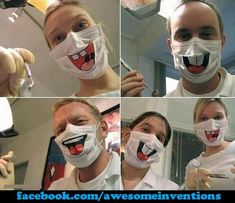 Wish they wore these at my dentist office ; Dentist Humor, Medical Humor, Funny Dentist, Rn Humor, Medical Facts, Nurse Halloween Costume, Sexy Nurse, Cool Masks, Awesome Masks