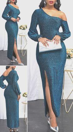 Langärmliges grünes Kleid mit schrägem Ausschnitt Elegantes Outfit Frau, One Shoulder, Shoulder Dress, Hot, Outfits, Dresses, Fashion, Green Dress, Elegant Styles