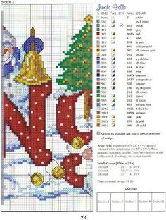 Punto de cruz Navidad, papa Noel y hombre de nieve