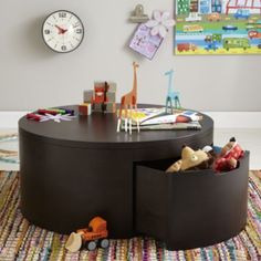 """Lego Area:  """"You Say Coffee, I Say Play"""" Table.  A great, low worktable for Lego construction.  Great pull-out storage drawers."""
