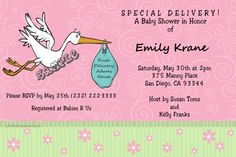 Stork Special Delivery Baby Shower Invitations - CHOOSE YOUR COLOR SCHEME  -  Get these invitations RIGHT NOW. Design yourself online, download and print IMMEDIATELY! Or choose my printing services. No software download is required. Free to try!