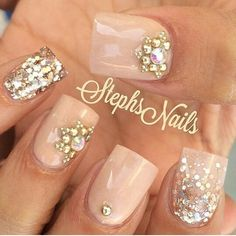 Nude and diamond nails!