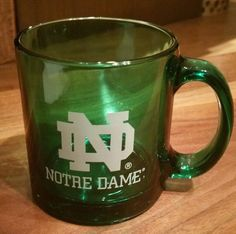Notre Dame Fighting Irish Green Glass Mug coffee Cup, white logo, made in USA #NotreDameFightingIrish