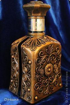 Декор предметов Аппликация из скрученных жгутиков Пейп- арт бутылочка Салфетки фото 1