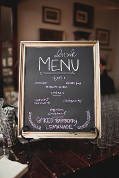 framed chalkboard wedding menu