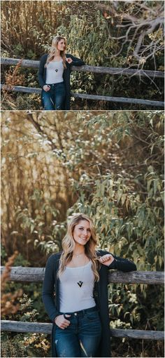 Senior girl against wooden fence