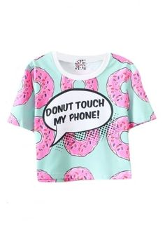 Donut Touch My Phone Crop Top | Attitude Clothing