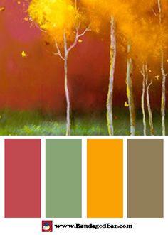 Color Palette: Golden Trees, Art Print by Teri Jonas