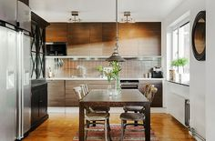 Plain front wood cabinets.