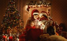 Christmas Family Open Present Gift Bag, Looking to Magic Light in Night Xmas Tree Interior Popular Christmas Songs, Christmas Scenes, Christmas Bags, Christmas Mood, Christmas Morning, Christmas Photos, Family Christmas, Holiday, Xmas Tree Lights