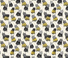 Sweater Cats - Mustard (Smaller size) by Andrea Lauren  fabric by andrea_lauren on Spoonflower - custom fabric