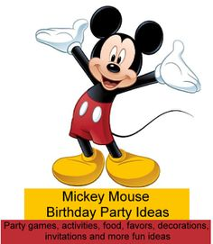 Mickey Mouse Party Ideas | Birthday Party Ideas for Kids - Fun ideas for Mickey Mouse themed party games, activities, food, party favors, decorations, invitations and a free Mickey Mouse ears template to print out for invitations, banners, favor bags and candy buffets.
