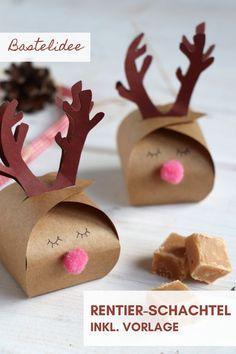 DIY Rentier Schachtel falten: Die Geschenkbox Vorlage macht das Geschenkschachtel falten einfach. Das Rentier Geschenkbox DIY ist eine kreative Weihnachten Bastelidee. Die Geschenkschachtel Vorlage lässt sich für ein Dankeschön Geschenk, Geldgeschenk oder Tischgruß verwenden.