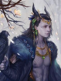 RavenMan can sometimes appear with black horns upon His Head... In ancient times, horns were a sign of wisdom.