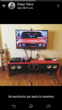 Garage Furniture, Car Part Furniture, Automotive Furniture, Automotive Decor, Furniture Design, Cool Things To Build, Car Part Art, Car Parts Decor, Garage Art