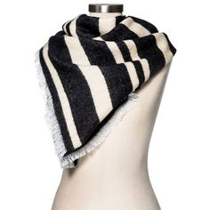 Women's Blanket Scarf Black/White Stripe - Merona