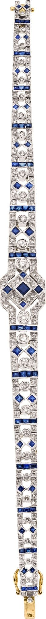 Diamond, Sapphire, Gold Bracelet  The bracelet features full-cut diamonds weighing a total of approximately 1.50 carats, enhanced by square and baguette-cut sapphires weighing a total of approximately 1.50 carats, set in 18k gold having a rhodium finish. Art Deco or Art Deco style.