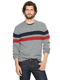 Lambswool chest-stripe sweater.