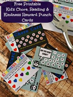 "Free Printable Kid's Chore, Reading & Kindness Reward Punch Cards - My Sweet Sanity - punch cards - better than craft sticks, poker chips for tracking ""extras"" chores? Love the kindness card! Chore Rewards, Reading Rewards, Kids Rewards, Rewards Chart, Free Printable Chore Charts, Chore Chart Kids, Free Printables, Printable Cards, Behavior Punch Cards"