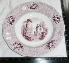 Antique Mulberry Eng.Transferware Staffordshire Deep Dish*PLATE* Roselle MEIR