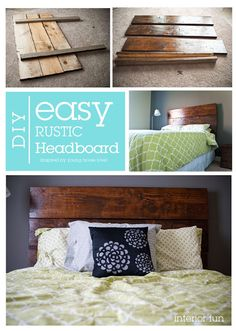 DIY rustic headboard- 2x4s & scrap woods  I really want to get rid f my bedroom set and do something simple like this