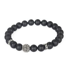Charm Men's Zircon Disco Ball Bracelet 8mm Matte Agate Gemstone Beaded Bracelet #Handmade #Friendship