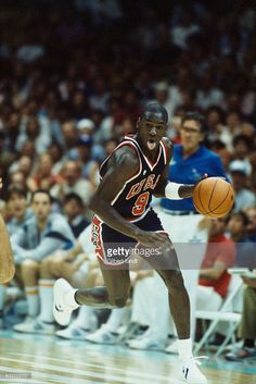 Michael Jordan from USA during the men's basketball tournament at the 1984 Summer Olympics.