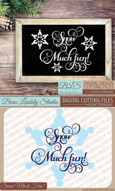 Winter SVG Cutting File: Snow Much Fun!, in SVG, DXF and PNG Image formats. Great as a Silhouette Pattern, Cricut Projects or printable clip art. This Winter Saying would be great on a DIY Gift! The design includes a SVG Cutting File, a DXF File and a PNG Image file. The design includes a snowflake embellishment and the sentiment. Also great for Sublimation!