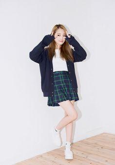 Korean fashion - white shirt, plaid skirt, navy blue cardigan and white sneakers