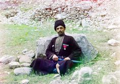 Pioneer: Equipped with a camera he designed himself and a train with a darkroom built into it,Prokudin-Gorsky travelled across Russia taking images. Pictured is a Muslim war veteran, complete with traditional uniform and dagger, in Dagestan, south west Russia, in 1094