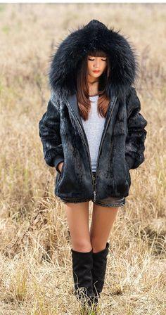 New Real 100% Rabbit Raccoon Fur Women Coat Jacket Overcoat Garment Hood