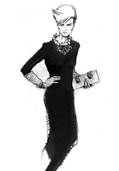 Fashion illustration - long black dress sketch with accessories; fashion drawing // Alena Lavdovskaya