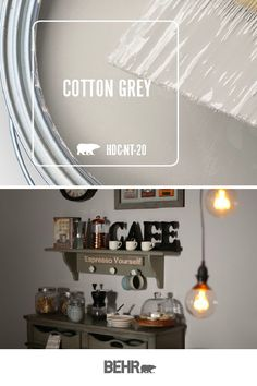 Loving the style of this at-home coffee bar? It all starts with Behr Paint in Cotton Grey. This light neutral wall hue creates the perfect backdrop for the dark, moody tones of this industrial-chic space. Click below to learn more. Behr Paint Colors, Bedroom Paint Colors, Interior Paint Colors, Paint Colors For Home, Room Colors, House Colors, Coffee Bar Home, Home Interior, Interior Design
