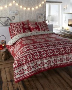 100% BRUSHED COTTON FLANNELETTE DOUBLE BED DUVET COVER BEDDING SET INNSBRUCK RED:Amazon:Kitchen & Home